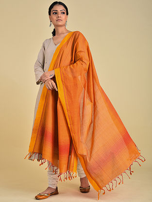 Orange-Mustard Handwoven Cotton Dupatta