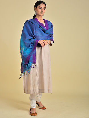 Blue-Purple Handwoven Cotton Dupatta