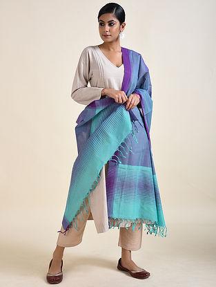 Blue-Purple Handwoven Cotton Dupatta