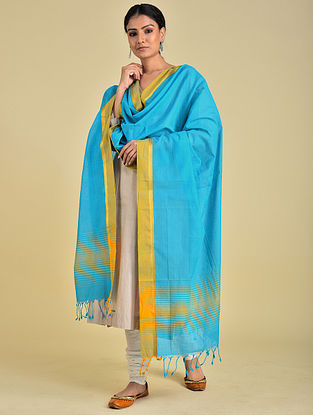 Blue-Yellow Handwoven Cotton Dupatta