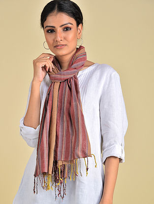 Brown-Yellow Handwoven Natural Dyed Stripe Cotton Stole