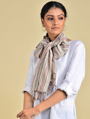 Ivory-Brown Handwoven Natural Dyed Stripe Cotton Stole