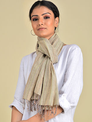 Beige Handwoven Natural Dyed Stripe Cotton Stole