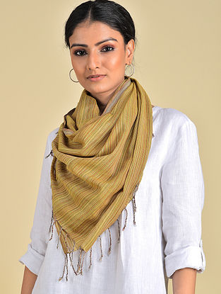 Mustard Handwoven Natural Dyed Stripe Cotton Stole
