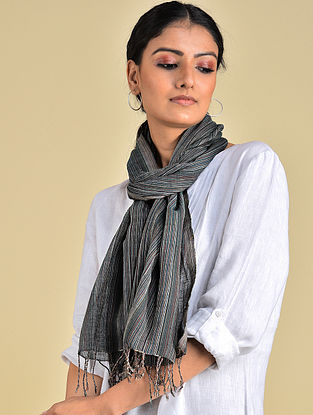 Black Handwoven Natural Dyed Stripe Cotton Stole