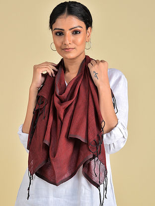 Maroon Handwoven Natural Dyed Stripe Cotton Stole