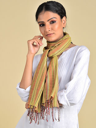 Green-Orange Handwoven Natural Dyed Stripe Cotton Stole