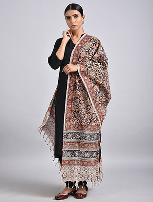 Red-Black Handwoven Kalamkari Printed Cotton Dupatta