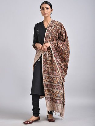 Maroon-Ivory Handwoven Kalamkari Printed Cotton Dupatta