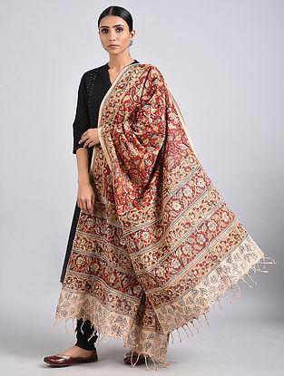 Red-Yellow Handwoven Kalamkari Printed Cotton Dupatta