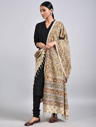 Grey-Ivory Handwoven Kalamkari Printed Cotton Dupatta