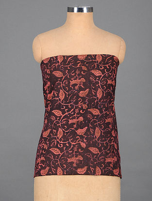 Burgundy-Peach Handwoven Kalmkari Printed Cotton Blouse Fabric