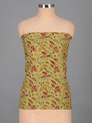 Green-Red Handwoven Kalmkari Printed Cotton Blouse Fabric