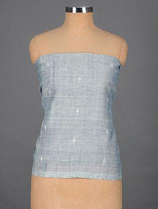 Blue-Ivory Handwoven Jamdani Cotton Blouse Fabric