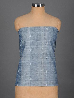 Blue Handwoven Jamdani Cotton Blouse Fabric