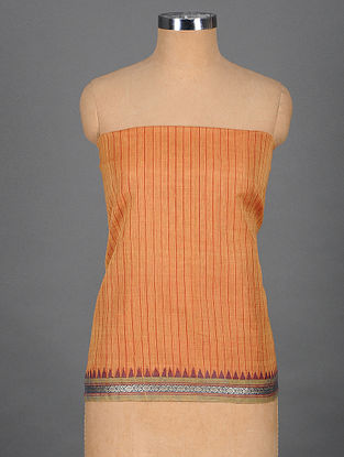 Orange Handwoven Cotton Blouse Fabric with Woven Border