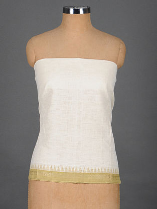 Ivory Handwoven Cotton Blouse Fabric with Zari Border