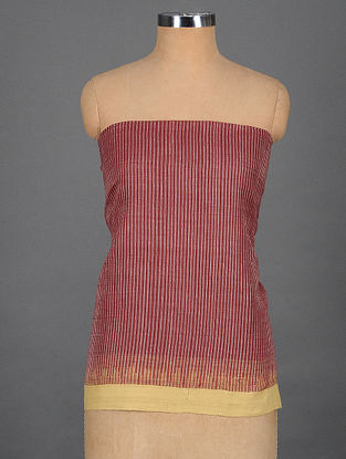 Maroon-Ivory Handwoven Cotton Blouse Fabric