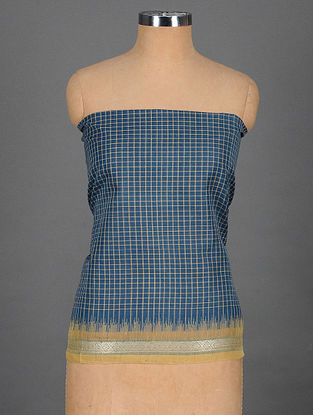 Blue-Beige Handwoven Cotton Blouse Fabric with Woven Border