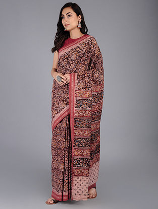 Multicolored Natural-dyed and Kalamkari-printed Khadi Saree