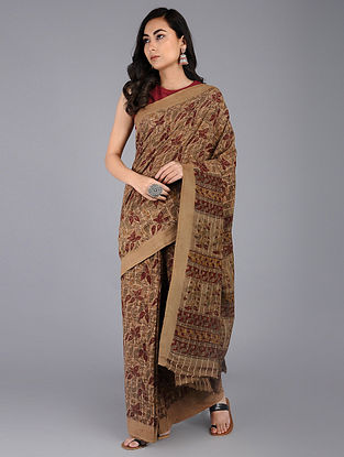 Beige-Maroon Kalamkari-printed Cotton Saree