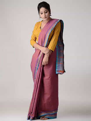 Blue-Pink Cotton Saree with Zari Border