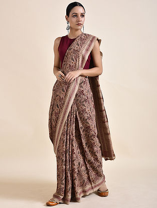 Red Kalamkari printed Saree