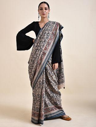 Ivory-Blue Kalamkari printed Saree