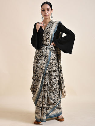 Ivory-Black Kalamkari printed Saree