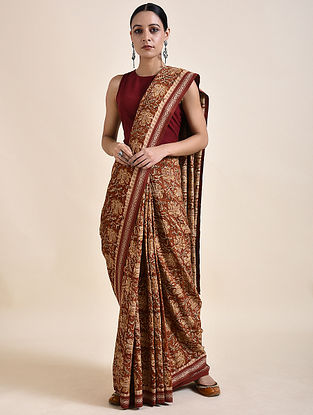 Brown Kalamkari printed Saree