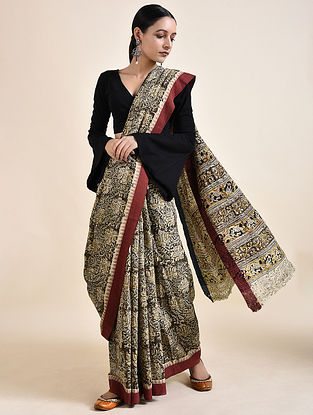 Ivory-Red Kalamkari printed Saree