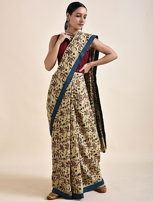 Beige-Red Kalamkari printed Saree