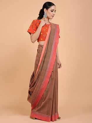 Brown-Coral Handwoven Cotton Saree