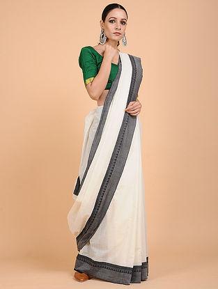 Ivory-Black Handwoven Cotton Saree