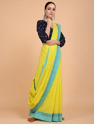 Yellow-Blue Handwoven Cotton Saree