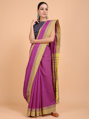 Purple-Beige Handwoven Cotton Saree