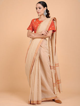 Beige Handwoven Cotton Saree with Zari Border