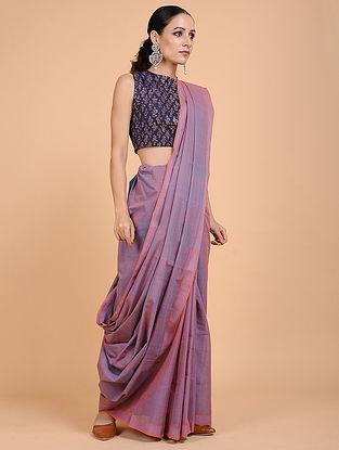 Purple-Orange Handwoven Cotton Saree