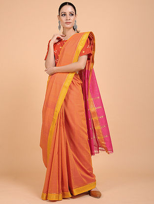 Orange-Yellow Handwoven Cotton with Zari Border