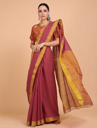 Maroon-Brown Handwoven Cotton Saree with Zari Border