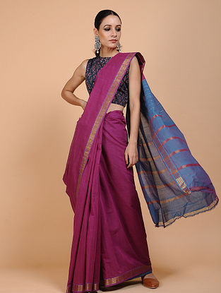 Purple-Blue Handwoven Cotton Saree with Zari Border