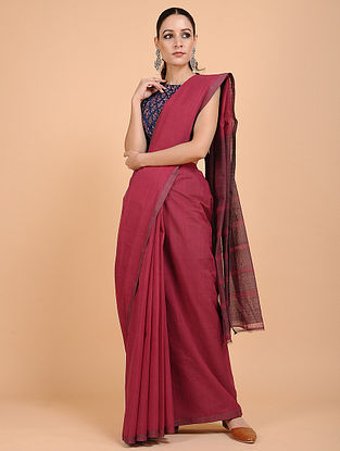Brown Handwoven Cotton Saree with Zari Border