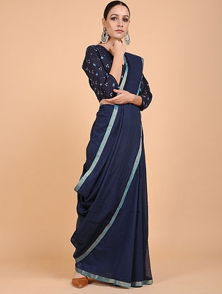 Blue Handwoven Cotton Saree with Zari Border