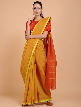Yellow-Orange Handwoven Cotton Saree with Zari Border