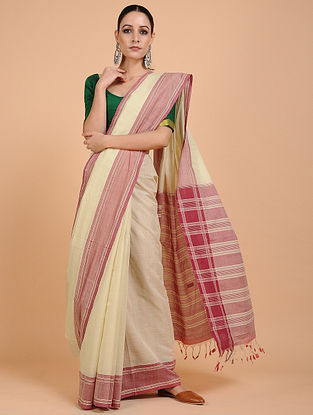 Ivory-Red Handwoven Cotton Saree