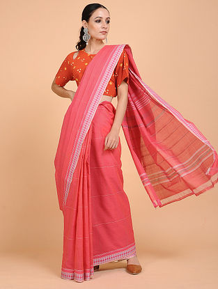 Coral-Pink Handwoven Cotton Saree