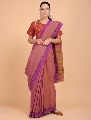 Purple-Brown Handwoven Cotton Saree
