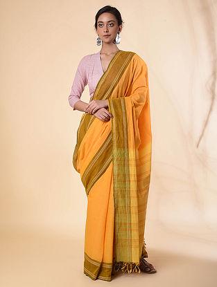 Yellow Cotton Saree with Zari