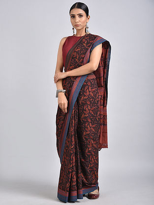Black-Red Handwoven Kalamkari Printed Khadi Saree