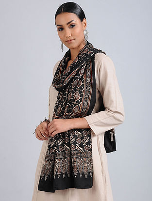 Black-Brown Ajrakh Printed Modal Silk Stole
